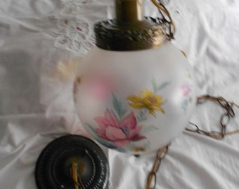 Shabby Chic Vintage Swag Ceiling Fixture - Frosted Glass Globe with Pink, Yellow & Blue Flowers - Ornate Metal Antique Bronze Tone  Finish