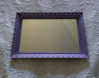 Ornate Shabby Chic Vintage Filigree Vanity Mirror  - Lavender Lilac