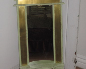 Arched Top Wood Mirror - Flanked With Brass Alloy Metal - Curved Bottom Shelf - Foyer Entry Mirror - Distressed in Celery Green
