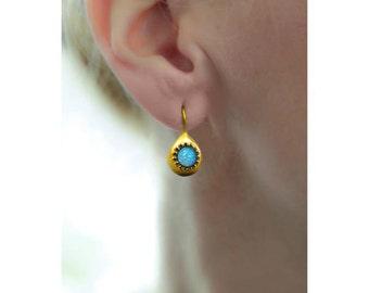 Blue Fire Opal Gold Earrings, Blue Gold Drop Earrings, Opal Jewelry, Gold Earrings, Gift For Woman, Birthstone Earrings, tear drop earrings