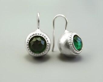 Green silver dangle earring, gift for woman, October Birthstone, Silver Ball drop earrings, Green Crystal Jewelry, Israel jewelry handmade