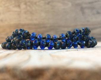 Beaded knotted wrap bracelet necklace - artisan boho - yoga boho - boho bracelet - boho wrap bracelet