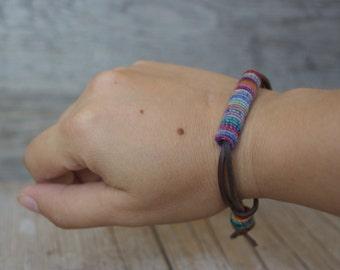 Fashion Jewelry - Bohemian Jewelry - Fiber Bracelet - Bohochic - Boho Bracelet - Yarn Bracelet - Leather Bracelets - Boho Fashion