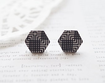 Wooden Black and White Retro Lines Hexagon Stud Earrings