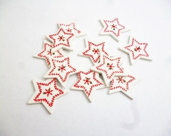Christmas button star red and white scandavian button xmas supplies printed buttons embellishment