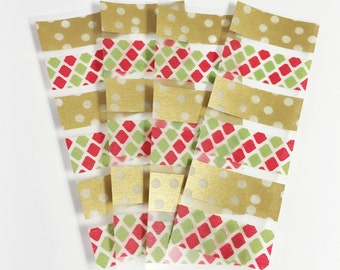 24 Individual Samples Set of 4 Gold Dots Green & Red Sample Sheets of Washi Tape Erin Condron Planner ECLP Size Cut Sample