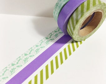 Set of 3 Mint Floral Olive Green Stripes and Solid Purple Skinny Washi Tape 11 yards 10 meters 10mm