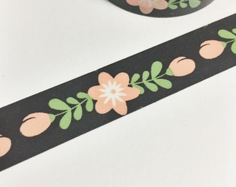 Gorgeous Coral White and Green Floral Pastel Coral Flower on Black Washi Tape 11 yards 10 meters 15mm