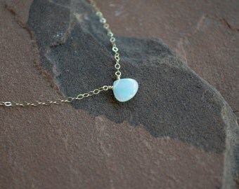 Opal Necklace, Delicate Gold Chain