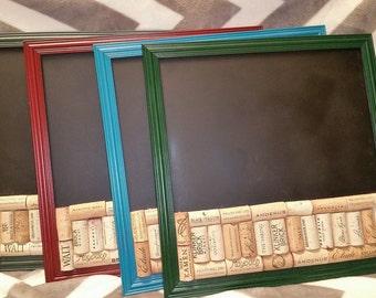sale framed repurposed wine cork corkboard and chalk board