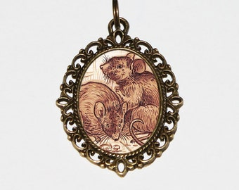 Rat Necklace, Brown Pet Rats Jewelry, Rodent, Animal, Bronze Oval Pendant