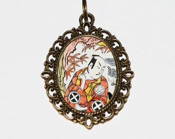 Samurai Necklace, Japanese Woodblock Art, Ukiyo-e, Edo Period, Samurai Jewelry, Oval Pendant