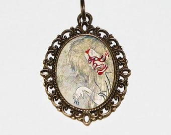 Samurai Ghost Necklace, Ukiyo-e, Japanese Woodblock Art, Samurai Jewelry, Edo Period, Oval Pendant