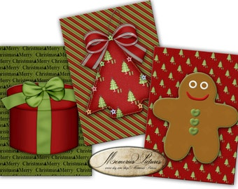 Christmas gift tags , red green,  2,5 x3,5 in Digital Collage Sheet - Printable Download - Vintage Paper Supply - 218
