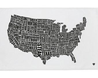 American Gastronomy Map Tea Towel Black