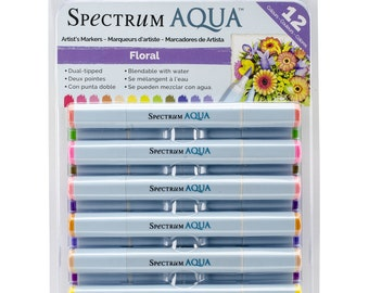 Spectrum Noir Aqua Markers - Artist Dual Tipped Watercolor Markers - 12 FLORAL Colors - Soft Brush Tip & Fine Point
