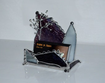 Business Card Holder - Tree - Custom - Color Selection - Office Art - Counter Top - Display -Stained Glass - Unique Design - Graduation