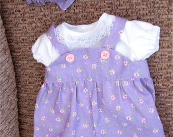 """15""""  Baby Doll Clothes Light Purple Flower Print Romper,  Shirt, Headband  Fits Bitty Baby, Bitty Twins or Other 15"""" Baby Doll"""