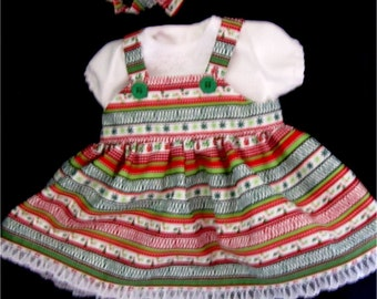 "15"" Baby Doll Clothes -Red, White & Green Holiday Jumper Blouse Headband Booties Set  Fits Bitty Baby, Bitty Twins, and Other 15"" Baby Dolls"
