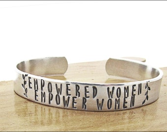 empowered women empower women bracelet, feminist, feminism, girl power, jewelry, cuff, gift for friend, boss, inspirational, stamped