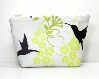 Large Zipper Pouch - Hummingbirds on Green and White Zipper Pouch - Gadget Case - Large Makeup Pouch - Catch All Bag for Chargers Cords