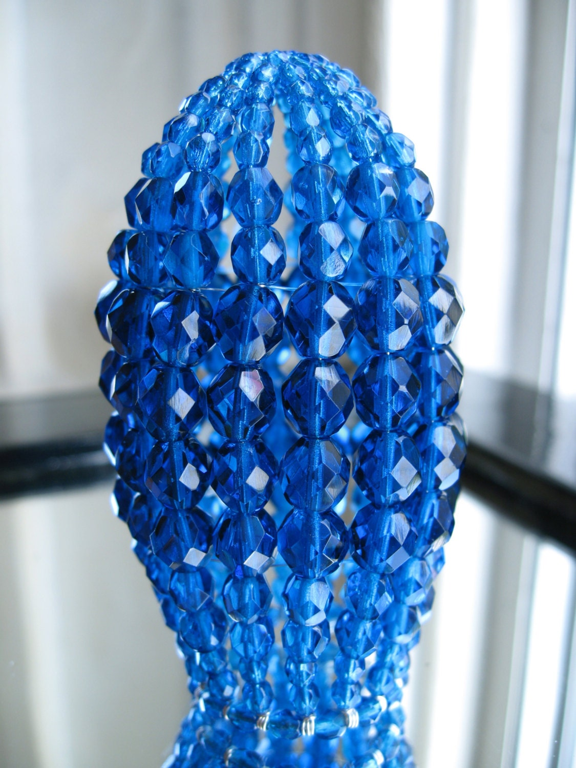 Small Beaded Light Bulb Cover Chandelier Shades Capri Blue
