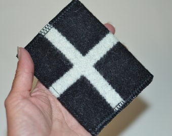 Classic BLACK wallet handmade of Wool mens or womens - casual slim wallet - card case - trendy hip wallet friendship gift