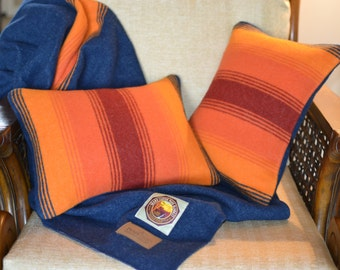 Wool Pillow Cover - PAIR - Grand Canyon NPS National Park Blanket Wool fabric Pillow Shams - rustic colorful accent lodge cabin throw