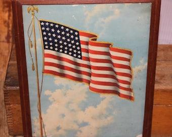 Vintage Framed American Flag Etsy