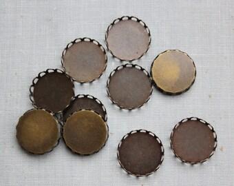 18mm Antique Bronze Lace Edge Cabochon Settings