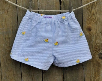 Duck Embroidered Seersucker shorts, many colors, Beach Weddings, Photos, Graduations...3m,6m,9m,12m,18m,2t,3t,4t,5,6,7,8,10,12