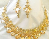 Gold Champagne Colored Crystal Necklace
