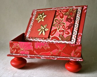 Big Red Box Handmade in Florals for Gift and Home or Office Decor