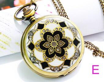 1pcs Antique Bronze   epoxy sticker  Set auger pocket watch  Pendant with chain