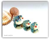Seaside Lentil set Lampwork Beads