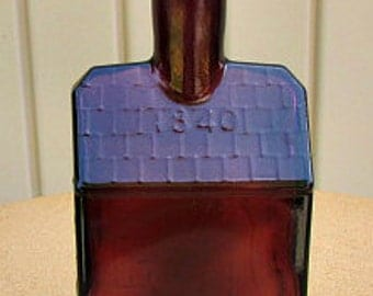 vintage 60s e c booz old cabin whiskey bottle  rare amethyst color glass repro of 1840