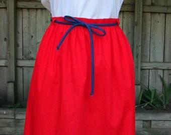 vintage 70s appliqued skirt and top set calico goose picket'n post