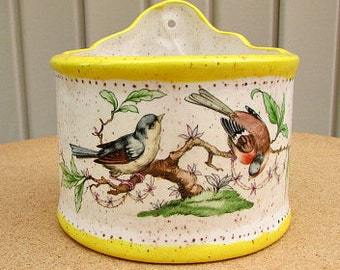 vintage 80s ceramic yellow flower pot holder with birds hand made can be hung on the wall