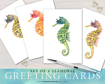 SEAHORSE Greeting Cards, Seahorse Greeting Cards, 5x7 Blank Inside, 4 Different Watercolor Seahorse, Gift for Seahorse lovers