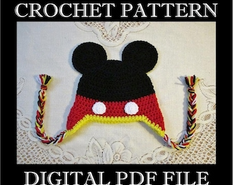 PDF PATTERN - Mickey Mouse Inspired Crochet Hat Pattern