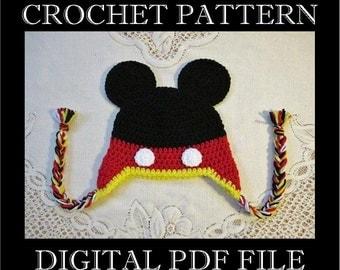 PDF PATTERN - Mickey Mouse Inspired Crochet Hat Pattern