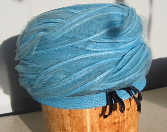 60's Blue Hat with Netting ~ Mr. Charles