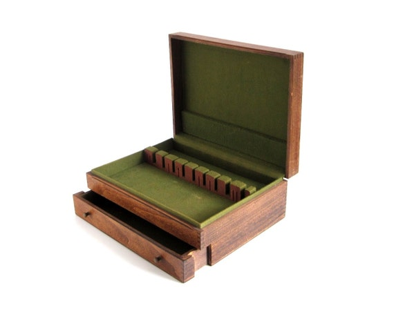 Empty Silverware Box Wood Flatware Case Drawer By