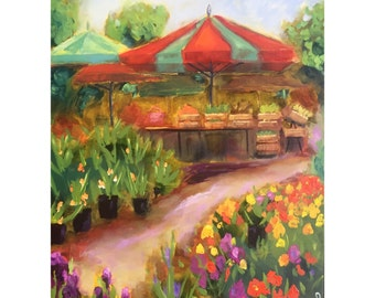 Original oil painting: French Flower Market, Landscape, Impressionism, colorful, French country, home decor, Provence, floral, flowers