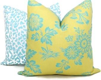 Chartreuse Song Garden Decorative Pillow Cover 18x18, 20x20 or 22x22, 24x24, Eurosham or lumbar, Schumacher pillow, accent pillow