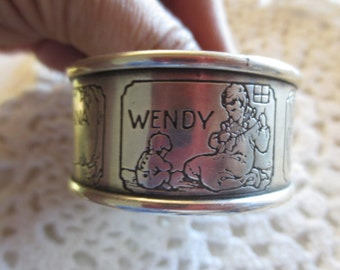 PETER PAN Webster Sterling Napkin Ring Engraved Silver Vintage Collectible