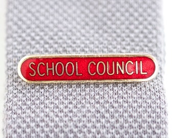 School Council Badge - Old School Red Enamel on Gold pin Brooch - for Important and Formal Occasions