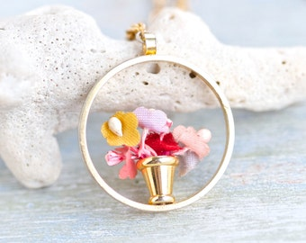 Flower Pot Necklace - Quirky Pendant on Chain - Cute Summer Jewelry