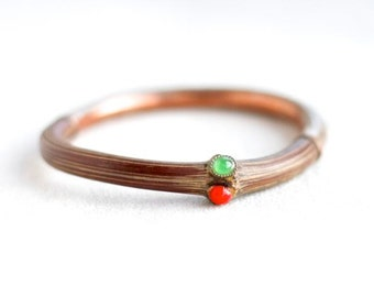 Half Copper Half Twig Bracelet - Unusual Bangle - Boho Jewelry