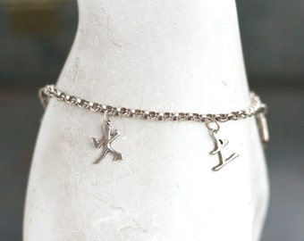 Chinese Characters Silver Bracelet - Sterling silver Oriental Charm Pendants - Made in Italy